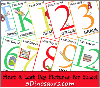 First and Last Day of school printables
