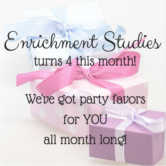 Enrichment Studies has party favors for you all month long
