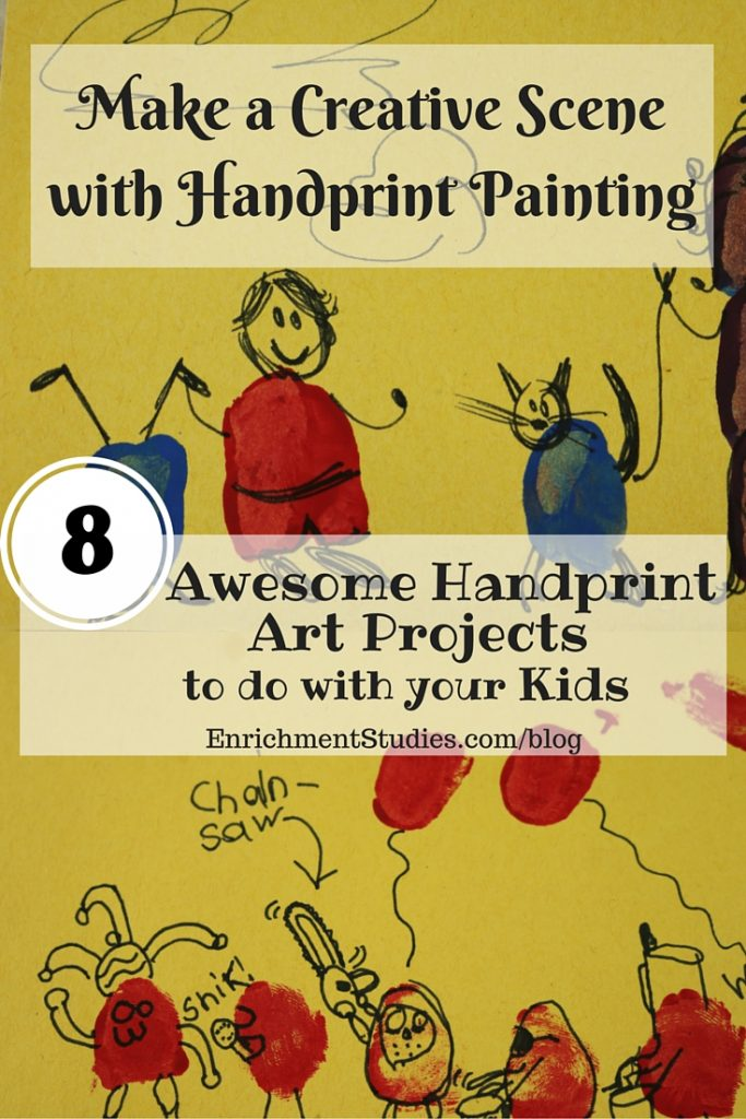 Make a creative scene with handprint painting